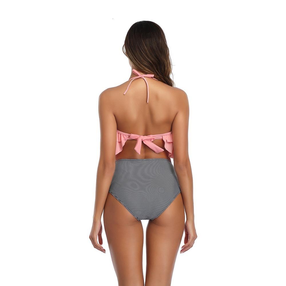 Plus Size Women High Waisted Bikini Swimsuit 2020 Halter Ruffle Bikini Sets Flamingos&Striped Print Female Large Size Swimwear (7)
