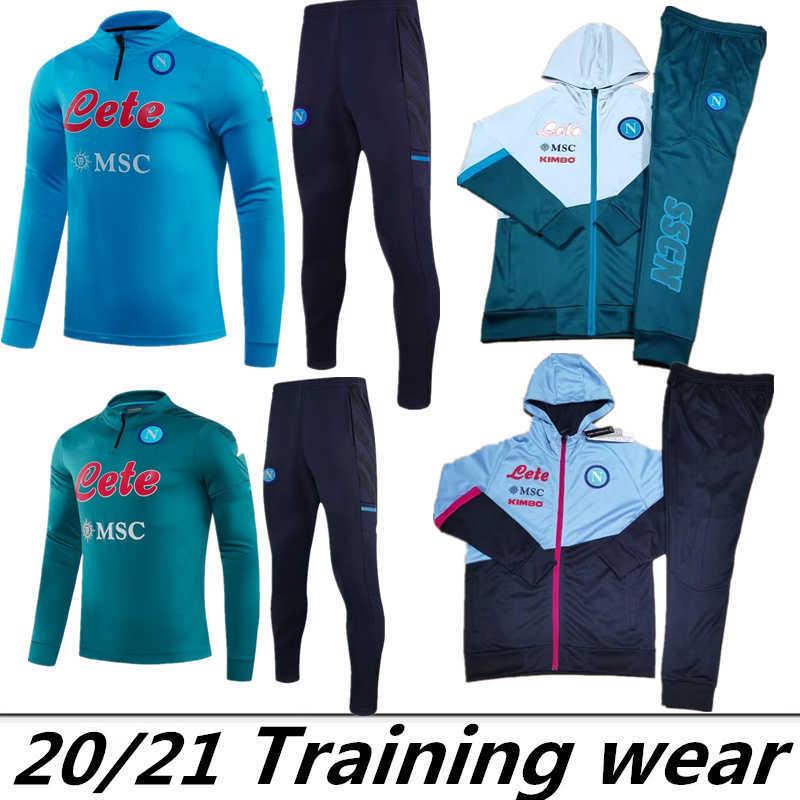 2020 2021 Napoli tracksuit Hamsik Insigne Callejon Zielinski 2021 SSC Naples long zipper jacket set tracksuit 2021 Soccer tracksuit