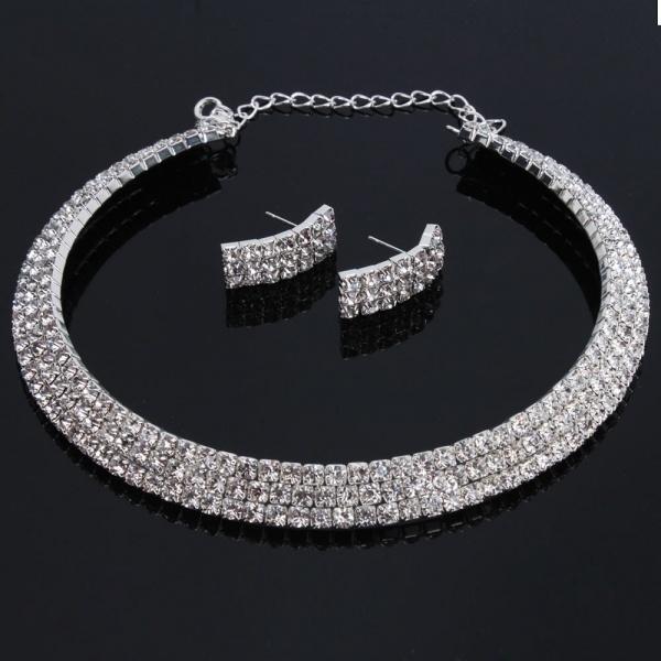 Women Fashion Jewelry Three Triple Rows Rhinestone Bling Bling Silver Necklace Choker Earring Set for Wedding Bridals