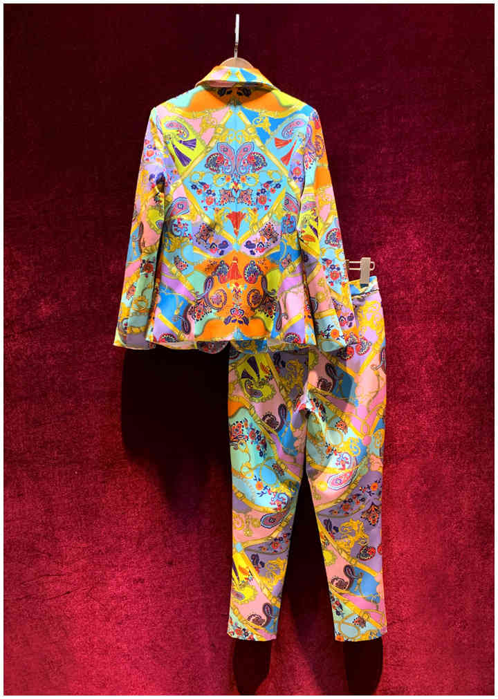 European and American women's clothing new 2021 spring Long sleeves cartoon print coat Nine minutes of pants Fashion suits