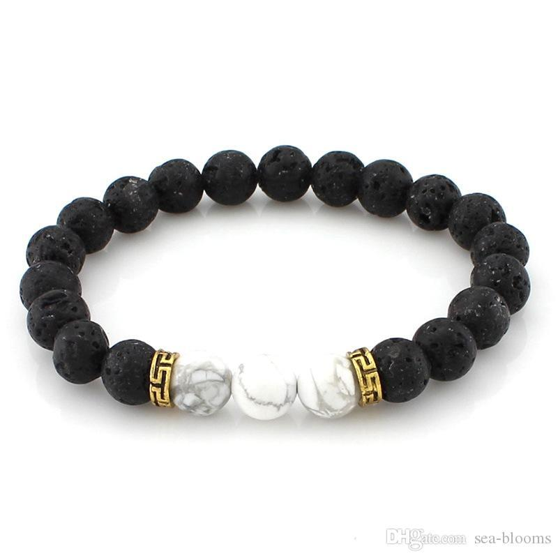 Natural Stone Lava Rock Bracelets Essential Oils Diffuser Yoga Beads Stretch Bracelet Hand Strings Bangle Fashion Jewelry Kimter-B362S FZ