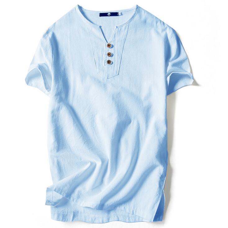Chinese style tshirt for men summer plus size loose cotton short sleeve v neck t shirt for men fashion poloshirt shirt men