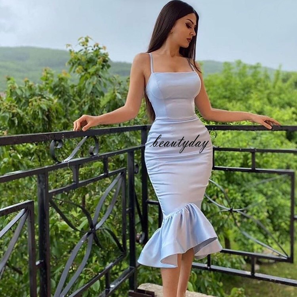 Aso Ebi Style Cocktail Dress African Silver Satin Prom Party 2021 Mermaid Vintage Tea-Length Arabian Formal Evening Gowns dresses