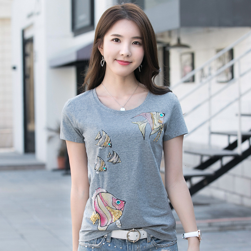 Fashion Designer Women's Sequins Slim t shirt Office Lady High Quality Cotton Casual Cartoon Pattern t shirt Tank Tops
