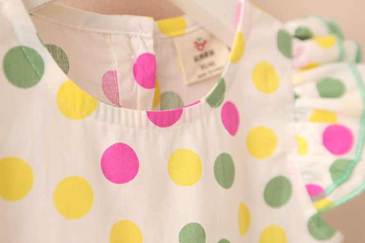 Summer 2-10 Years Beautiful Pretty Sweet Children Baby Kids Pleat Short Fly Sleeve Party Prom Polka Dot Dresses For Girls (16)