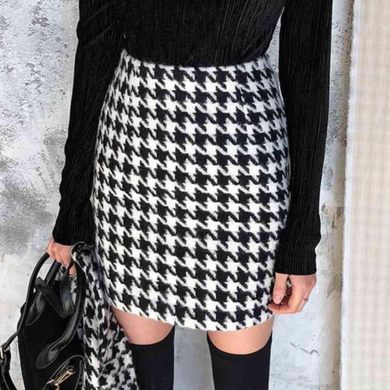 Twill-Skirts-Women-Fashion-Casual-Houndstooth-Skirt-Women-Elegant-Zipper-A-Line-Mini-Skirts-Female-Ladies