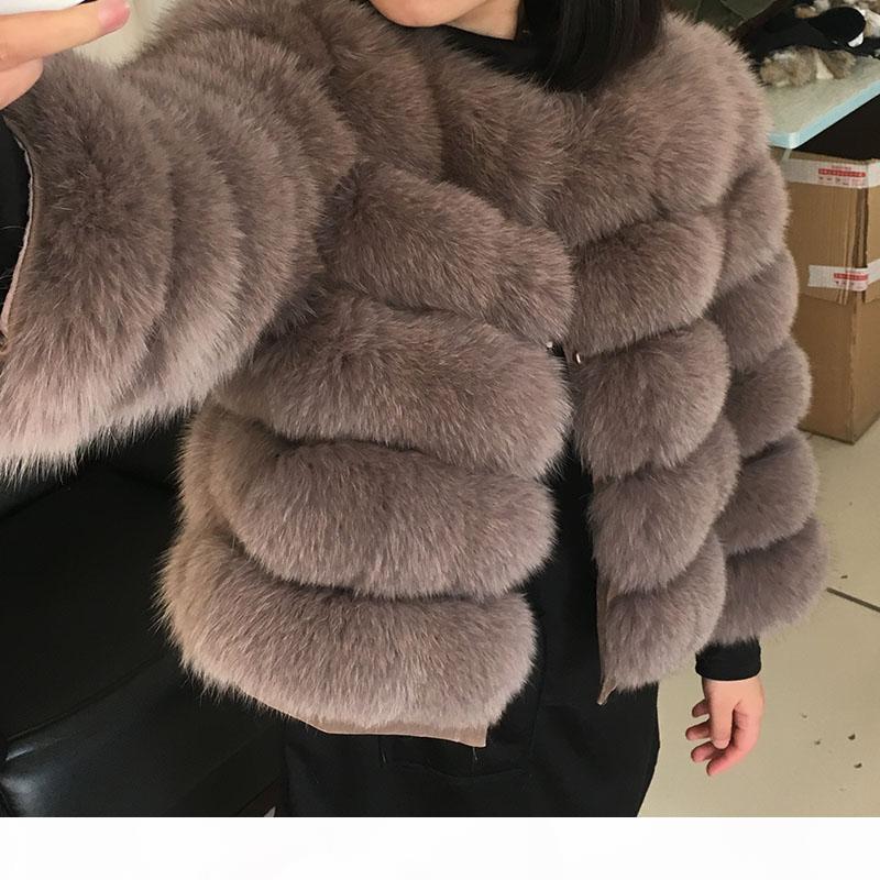 2020 New Winter Coat 50CM Natural Fox Fur Coat Women Winter Natural Fur Vest Jacket Fashion Silm Outwear Real Faux Fur Vest Coat Fox