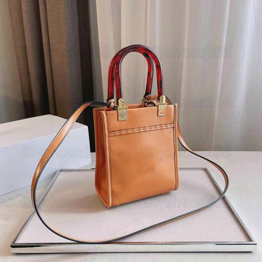 Sunshine Mini Calfskin Logo Shopper Tote Bag Vintage Leather Flap Bags Crossbody Womens Designer Luxurys HandBag Lady Purse Wallet Shoulder Bags