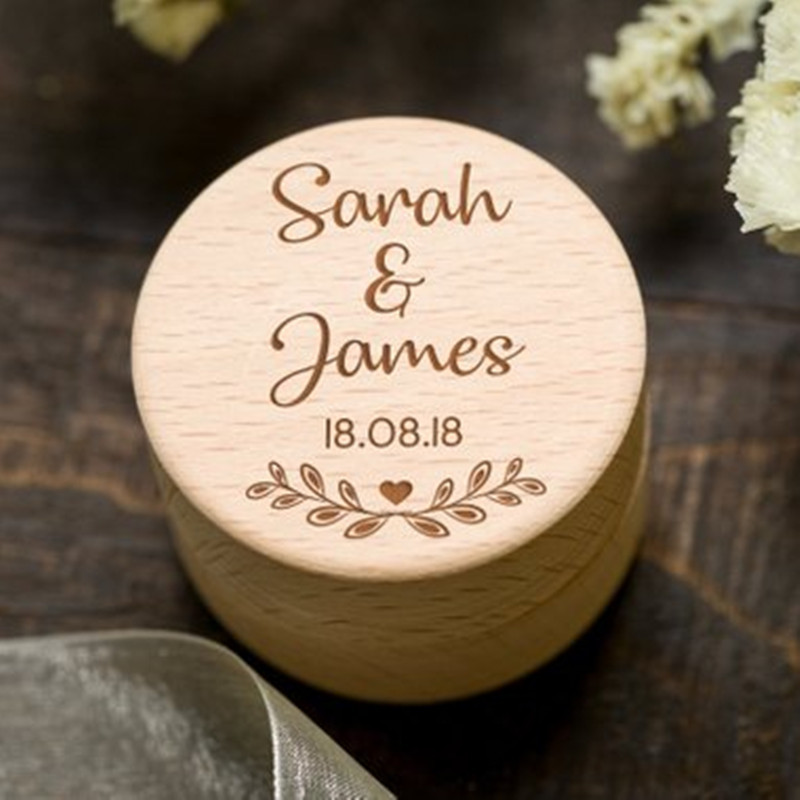 Rustic Wedding Ring Box Personalized Wooden Ring Bearer Box Ring Holder Country Wedding Decoration Marriage (2)