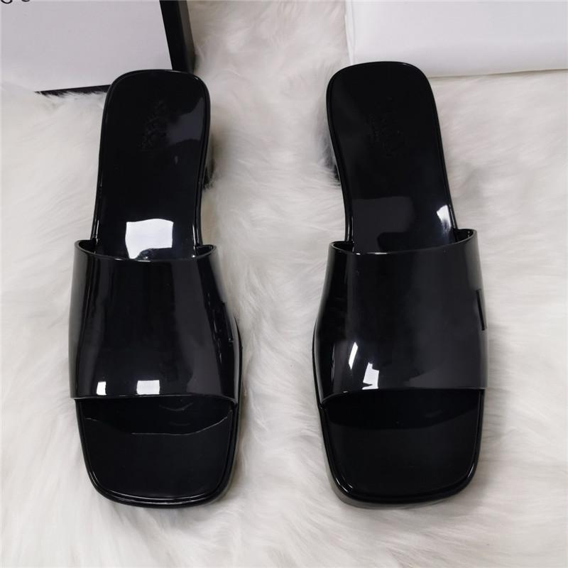 Designer- Women Slippers Thick Bottom Sandals Chunky Rubber Slides Platform Alphabet Lady Slipper Bright leather Heel Sandal Fadhion Beach S