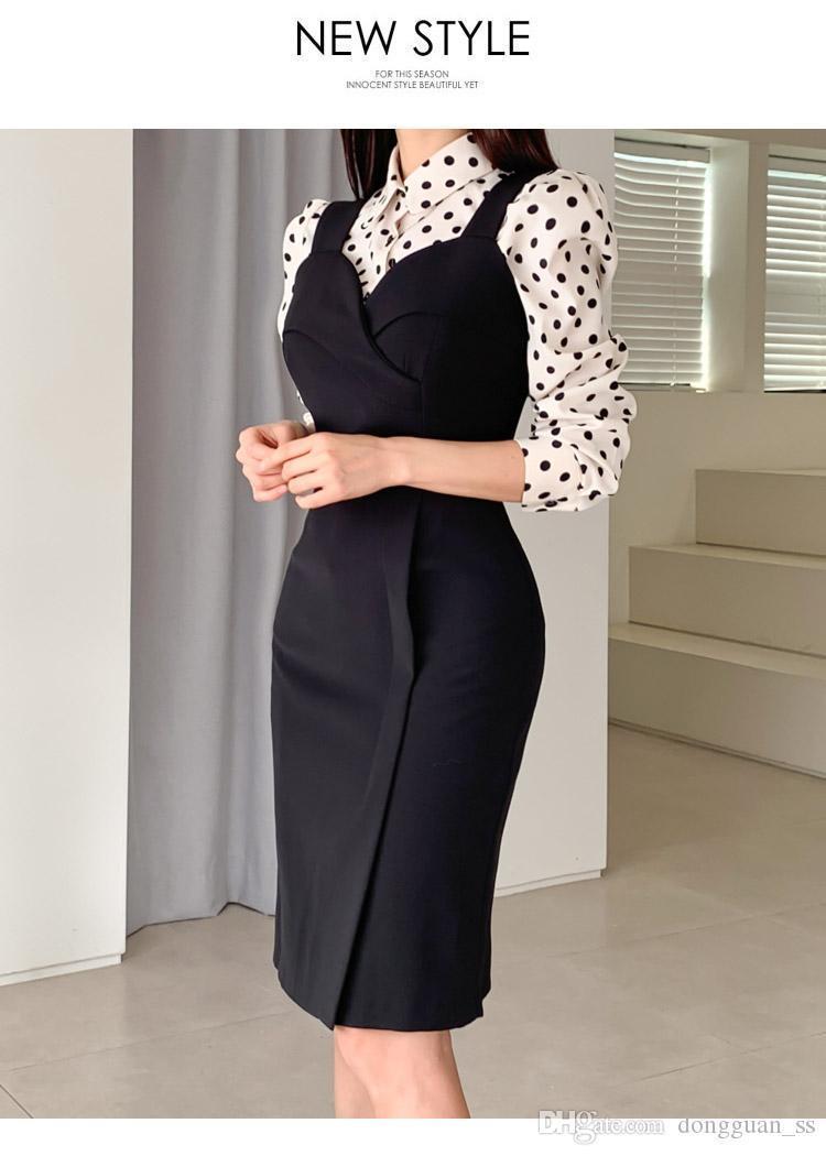 New Two Piece Sets Female Cloth Dot Print Blouse Strap Black Midi Pencil Vestidos Women's Suits Office Bodycon Dress