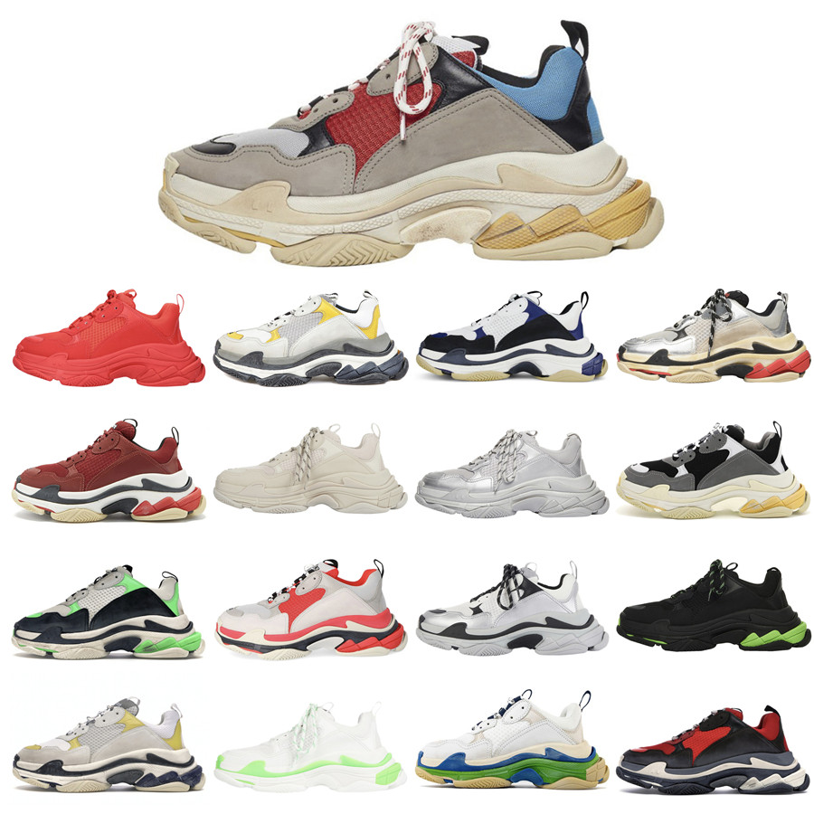 Newest Triple S Trainers Men Women Designer Outdoor Dad Shoes Vintage Platform Sneakers Black Paris 17FW Tennis Flat Sports Jogging Walking With Original Box