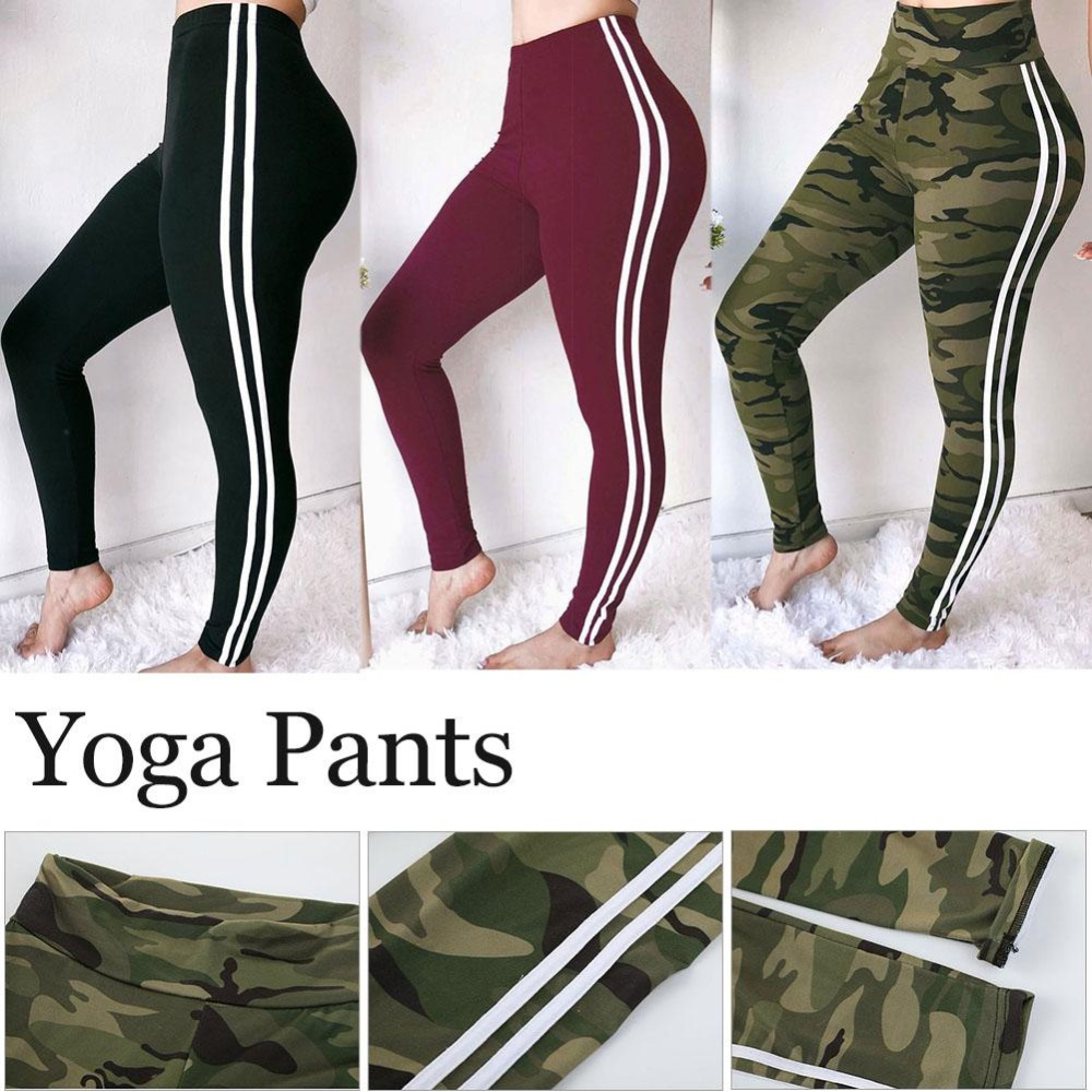 Sexy-Camouflage-Pure-color-Ribbon-Strap-Sports-Yoga-Pants