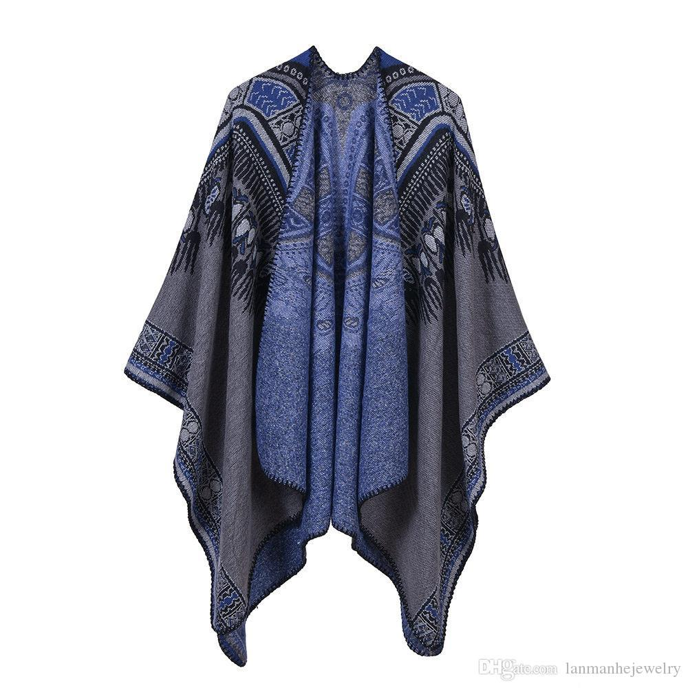 Fashion Lady Warm Pashmina Ethnic High Quality Imitation Cashmere Shawls Autumn and Winter Abstract Pattern National Scarves & Wraps