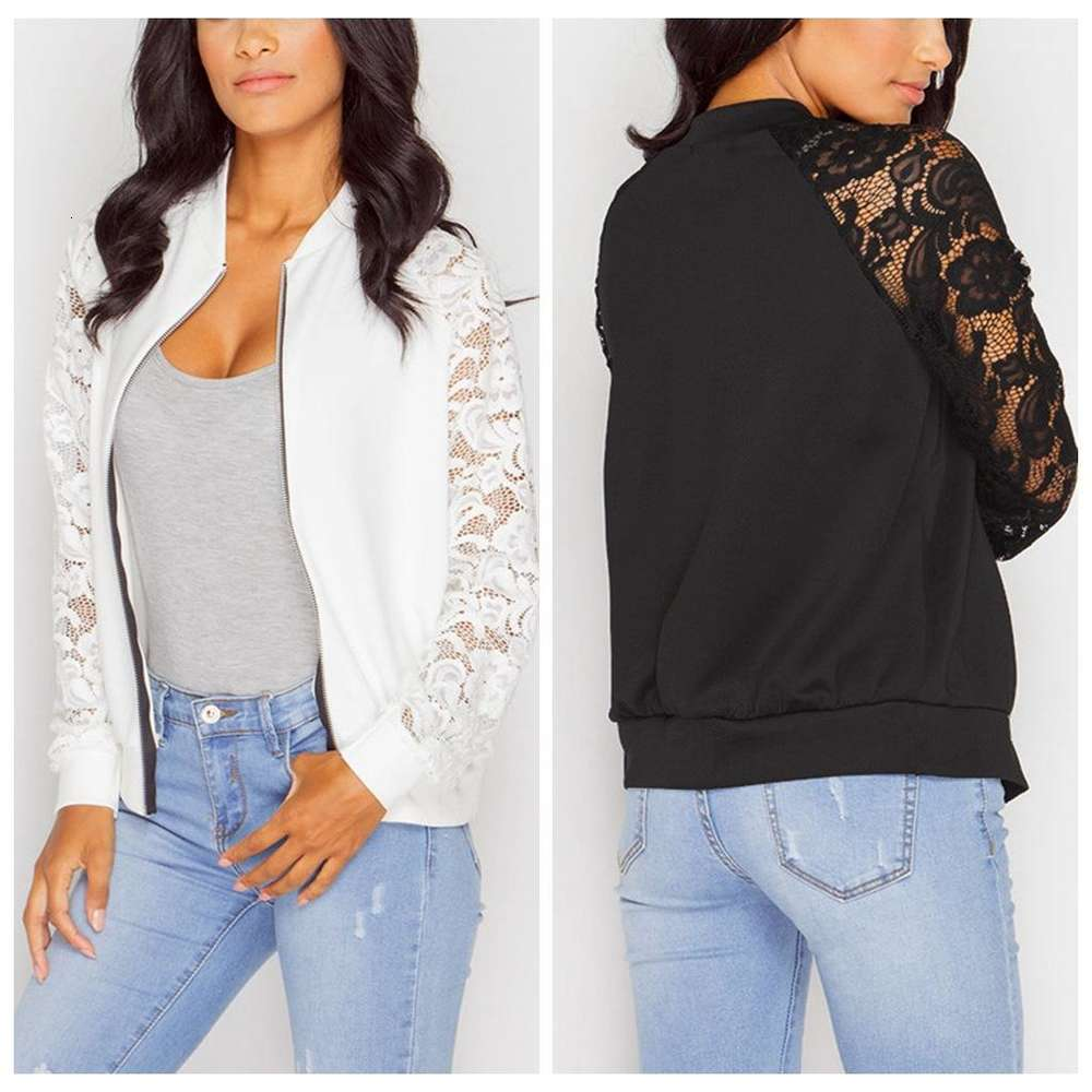 Clothes Womens Designer Jackets Spring and Autumn Zip Neck Outerwear Long Sleeve Lace Panelled Woman Streetwear