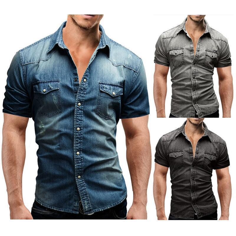 Men Spring Summer Denim Thin Shirt Short Sleeve Soft Cotton Two Pockets Slim Slight Elastic Jeans Cowboy Clothing Men's Casual Shirts