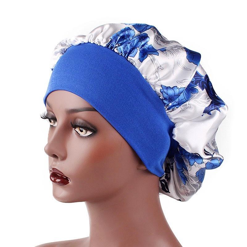 Fitted Hats Printing Flowers Silk Satin Hair Bonnets Wide Edge Flexible Stretch Belt Women Hat Elastic Ponytail Cap 5 2yd C2