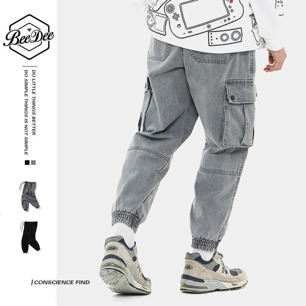 New 2021 Mens New Large Size Cotton Casual Cargo Pants Small Feet Multi-Pocket Slim Outdoor Trousers