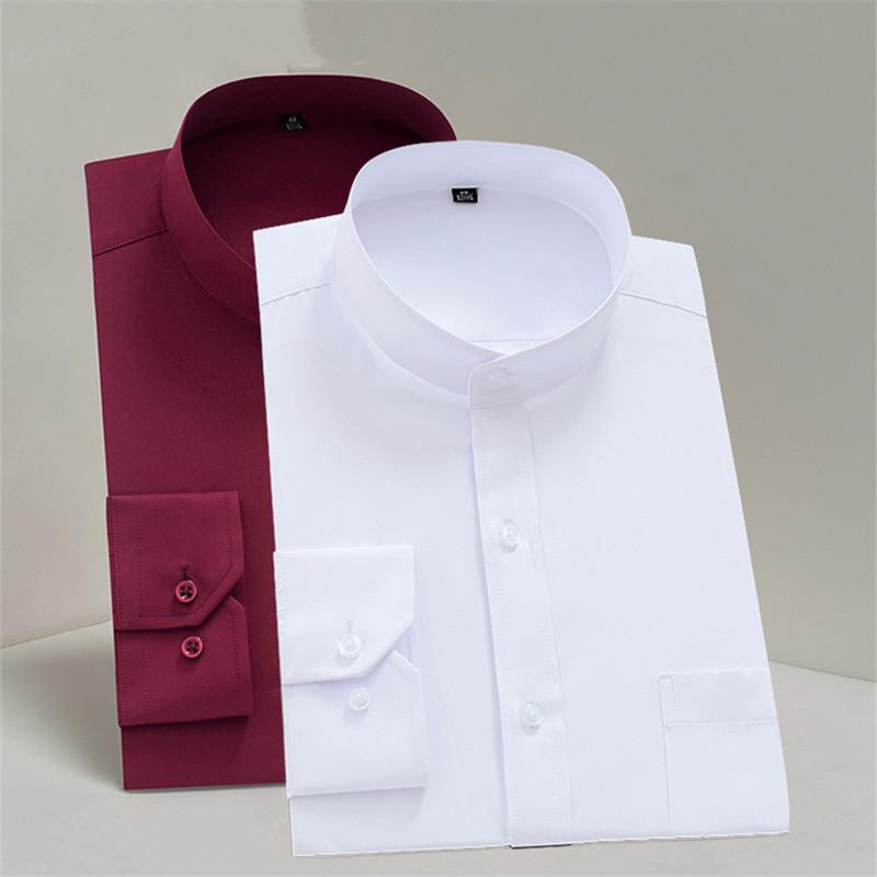 Men's Casual Shirts Chinese Stand Collar Solid Plain Regular Fit Long Sleeve Party Bussiness Formal For Men Mandarin-Collar