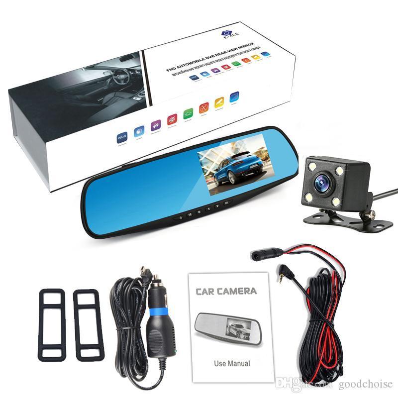 Full HD 1080P Car Dvr Camera Auto 4.3 Inch Rearview Mirror Digital Video Recorder Night Vision Dual Lens Registratory Camcorder