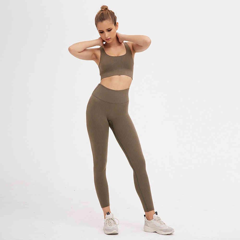 Women Tracksuits Sport Yoga Set Seamless Gym Set Crop Top Bra Pad Elastic High Waist Yoga Pant Yoga Outfit Fitness Sets Gym Clothing
