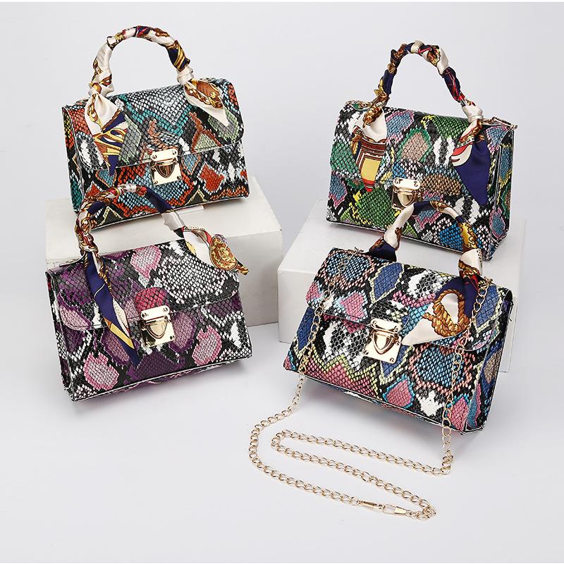 2021 Bag Women Color Snake Pattern Print Silk Scarf Handbag Chain One Shoulder Cross Body Bags Tide Fashion Purse