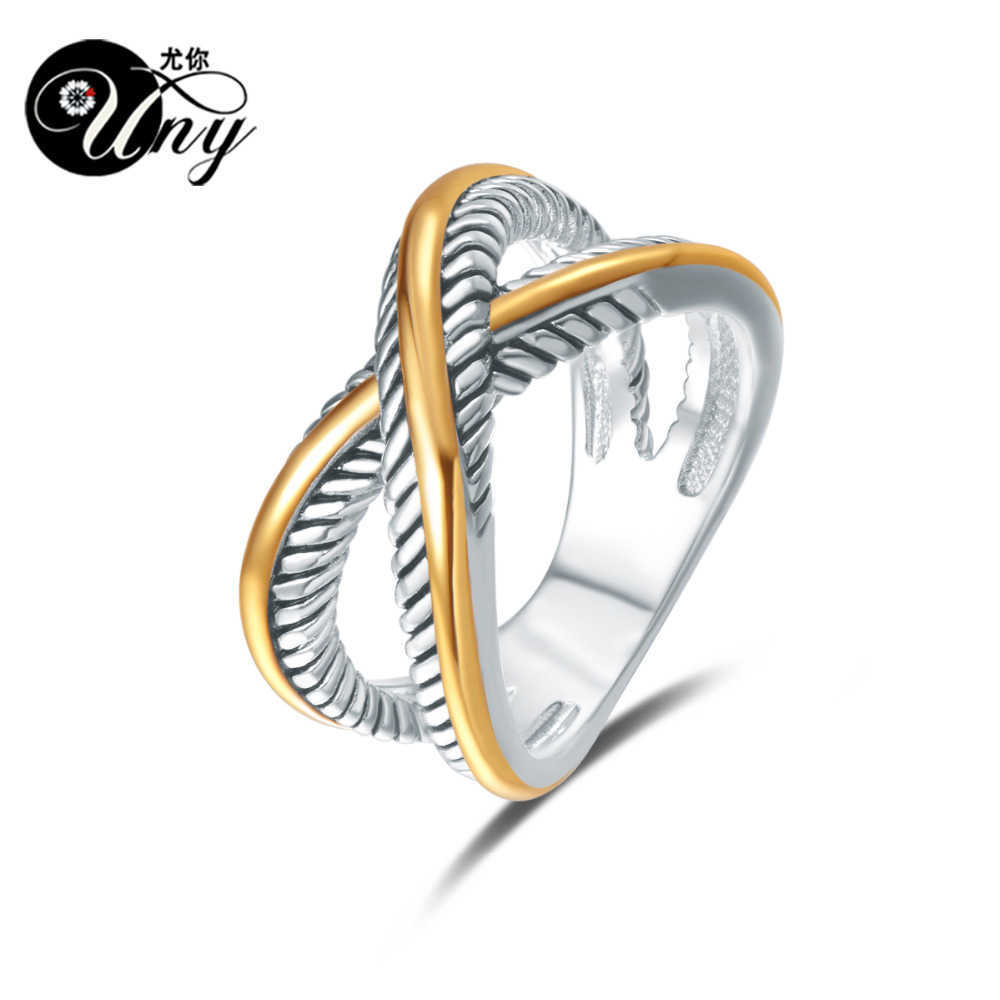 UNY Ring David Vintage Designer Fashion Brand Rings women Wedding Valentine Gift Ring Two-color plating Twisted Cable Wire Rings 210623