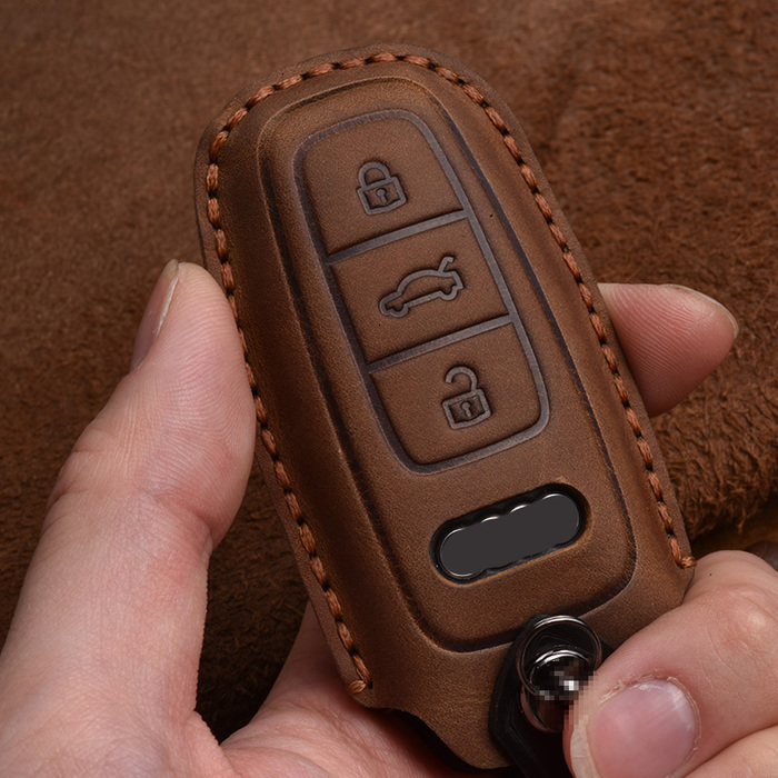 Key Wallets Real leather holder cover for Audi A3 A4 B9 A6 C8 A7 4K A8 D5 S8 Q7 Q8 SQ8 e-tron 2021 2021 2021 accessories