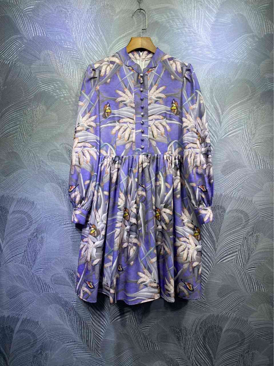 ZIM dress Australia spring retro palace style stand-up collar single-breasted printed