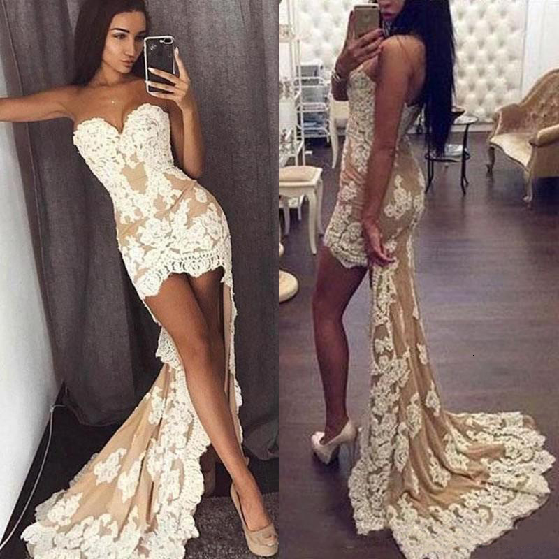 2020 Sexy Sweetheart High Low Prom Dresses Lace Appliques Evening Party Gown Customize Long Special Occasion Dress