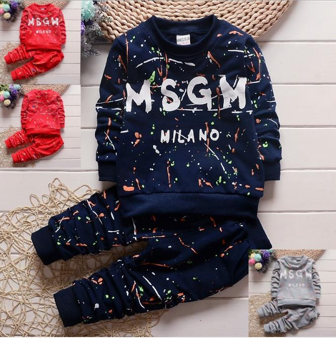 3 colors 1-4Years Toddler Baby Boys Clothes Sets T Shirt+Pants 2pcs sets Sportswear Children clothing autumn kids designer clothes sets