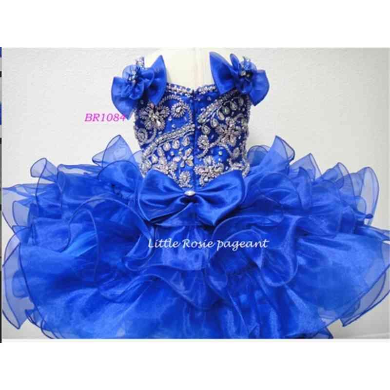 2021 Newest Ball Gown Royal Blue Organza Kids Little Girls Pageant Dresses Birthday Flower Girl Dresses