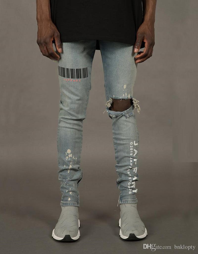 Autumn Fashion Jeans for Men with Broken Holes Designer Zippers Jeans Skateboard Pencil Biker Denim Pants
