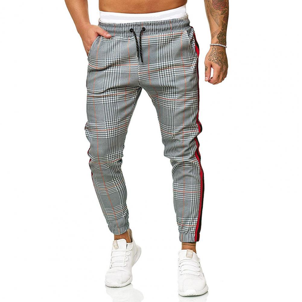 Casual Men Skinny Pants Plaid Side Stripes Drawstring Ankle Tied Skinny Trousers for Sports Cargo Pants Classic Outdoor Hiking