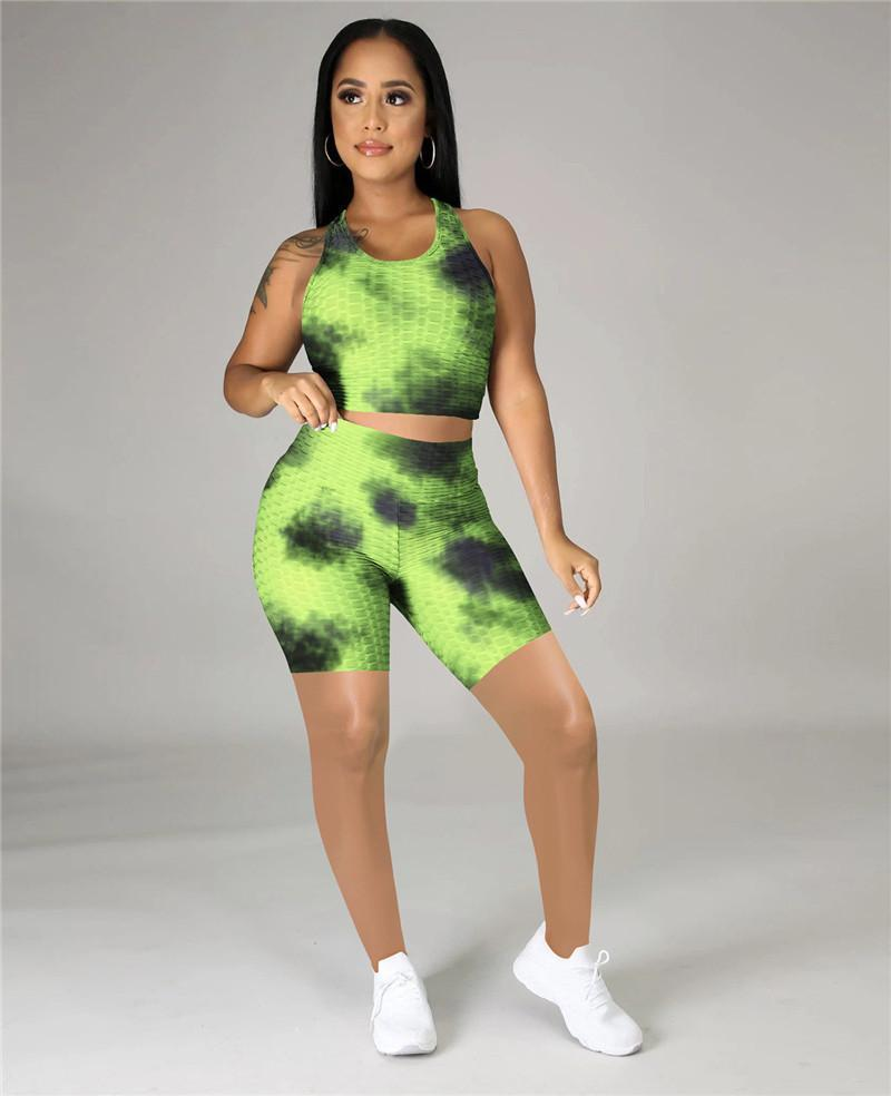 Women Summer Tie-dyed Yoga Outfits plus size set 2XL Tank tops+Shorts Casual Tracksuits Fashion sportswear Jogging Suits DHL 4627