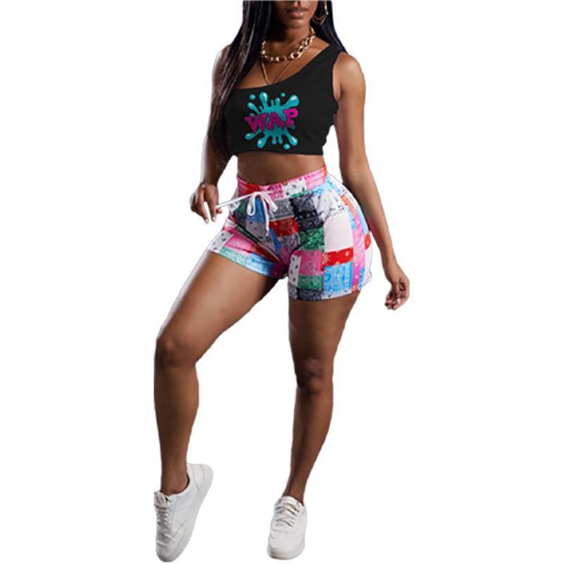Womens outfits vest + shorts two piece set tracksuits jogging sportsuit strap vest+short legging sweatshirt pants sport suit klw6429