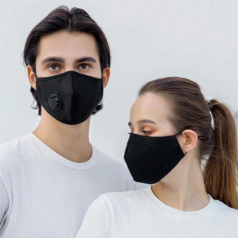Fashion Cotton Face Mask Breathable Breathing Valve Protective Mask Dust-proof Smoke Proof Washable Reusable Cycling Masks With 2 Filter