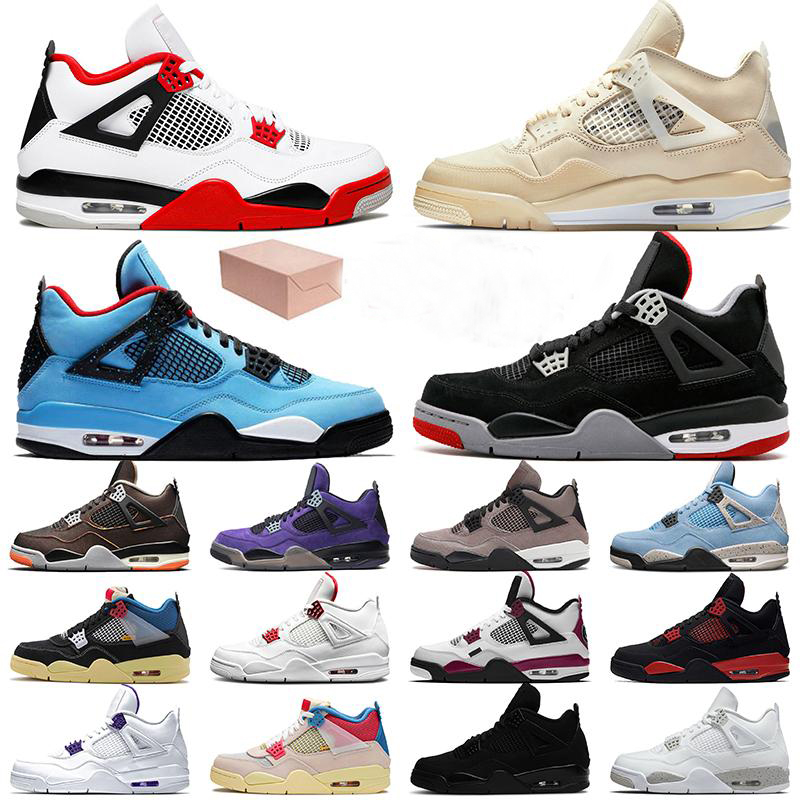 With Box Jumpman 4 Men Basketball Shoes Women Sail Fire Red 4s Travis Bred University Blue Black Cat PSGs Court Purple Trainers Sneakers