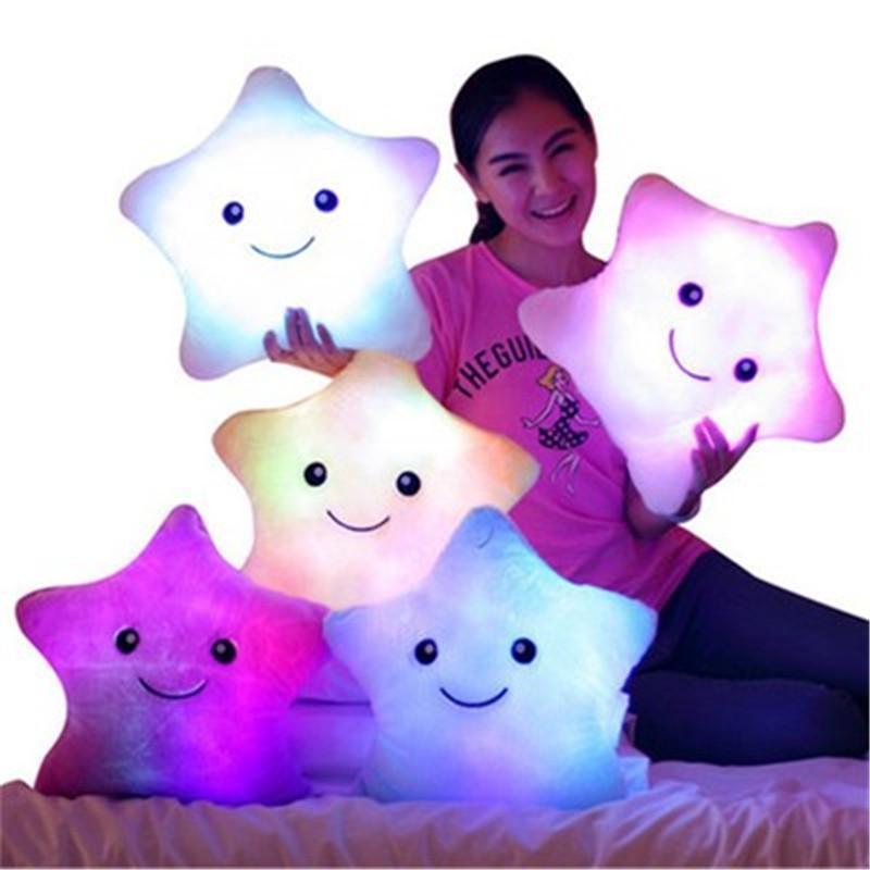 LED Flash Light Star Hold Pillow Plush Five Star Doll Plush Animals Stuffed Toys 40cm Lighting Gift Stuffed Plush Toy Hold Pillow