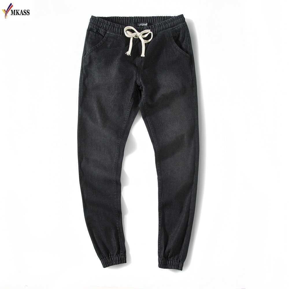 New Brand Mens Denim Jeans Men Drawstring Slim Fit Denim Joggers Mens Jeans Pant Men Stretch Elastic Jean Pencil Pants