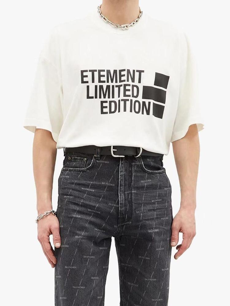21ss Europe France Vetements Embroidery Prank Front Big Tshirt Fashion Mens T Shirts Women Clothes Casual Cotton Tee