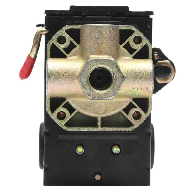 90-125PSI 4 Port 26 AMP Pressure Switch Control Valve Air Compressor Heavy Duty Black Smart Home