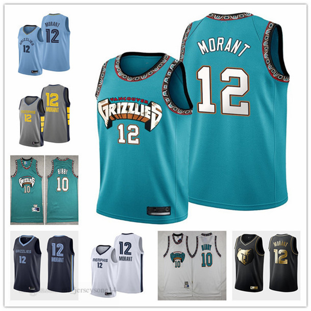 """Mens women youth memphis""""Grizzlies""""12 Ja""""Morant 10 Mike""""Bibby 50 Reeves white green black Throwback City Basketball jersey"""