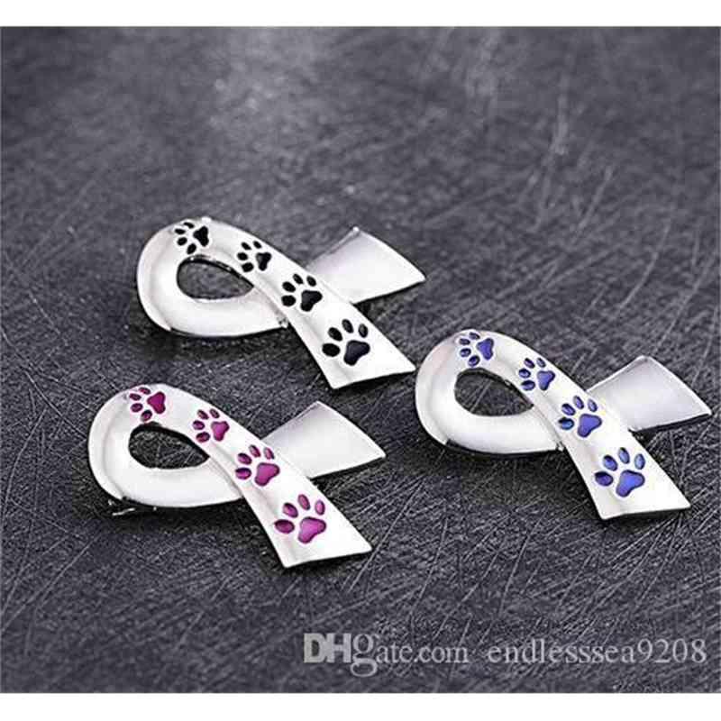 Silk ribbon broches women enamel pet paw prints pins and brooches cat dog memorial pin black blue brooch metal silk satin badge