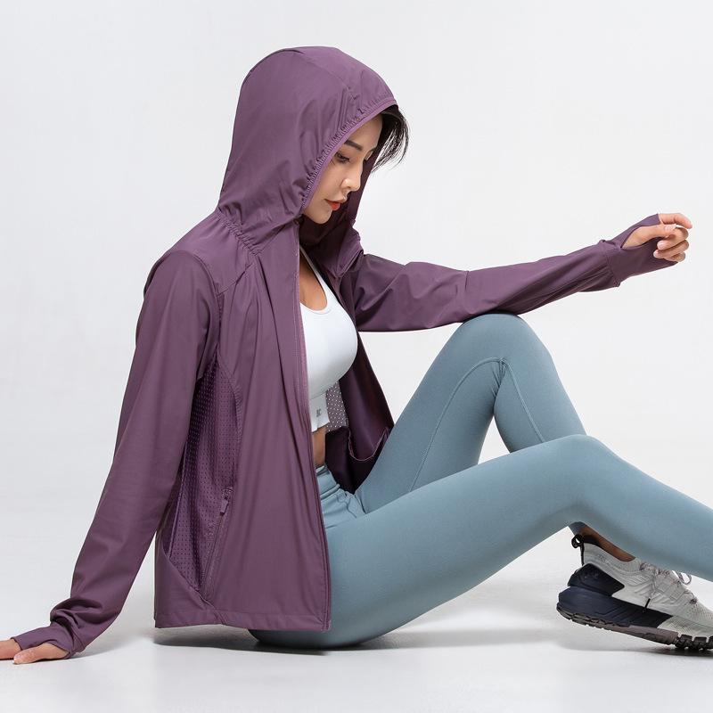 Women Jackets Coats Girls Womens Yoga Wear Sun Protection Clothes Outdoor Running Leisure Waterproof Windbreaker Jacket Hooded Quick-drying