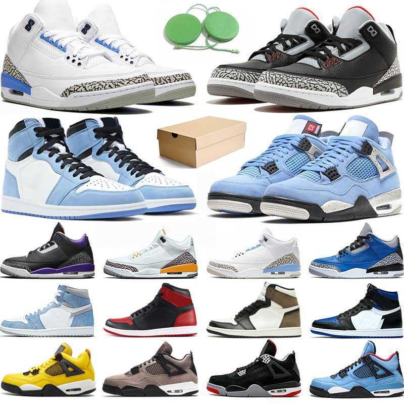 With Box 4s Basketball Shoes Men 1s University Blue Black Cement Georgetown UNC Katrina Tinker Taupe Haze High OG 1 Womens Sneakers Trainers