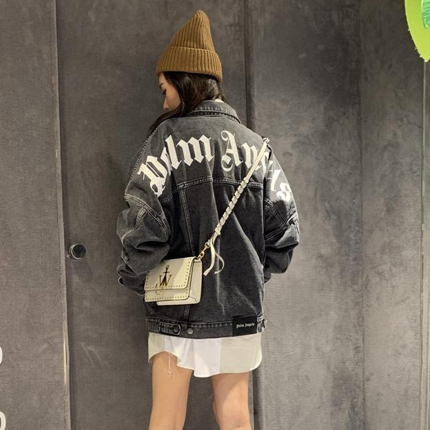 High quality pal ms ang/e- ls palms/angels wash black basic letter print denim jacket fashion brand ins couple casual coat Jacket 1CW6