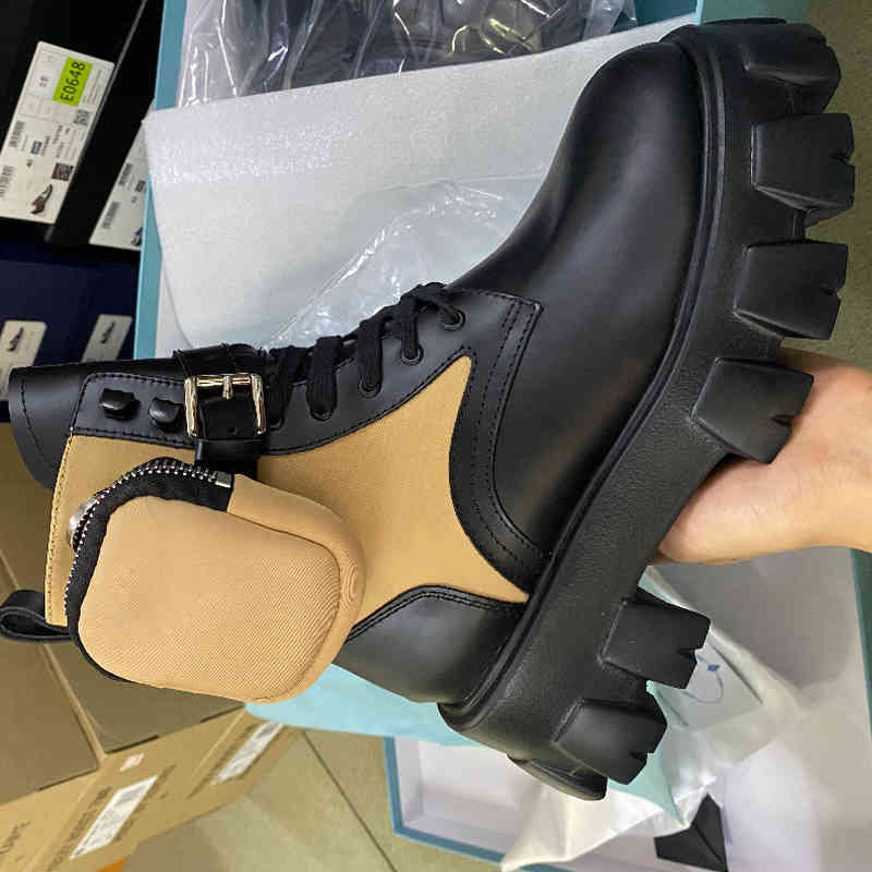 Women Rois booties high cut Ankle Martin Boots and Removable Keycase Nylon Boot military inspired Low cut combat boots TOP quality