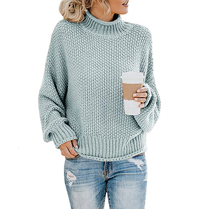 Women warm long sleeve Knitted sweater loose Casual Winter soft O-neck solid color sweatshirt high collar tops knits Tees