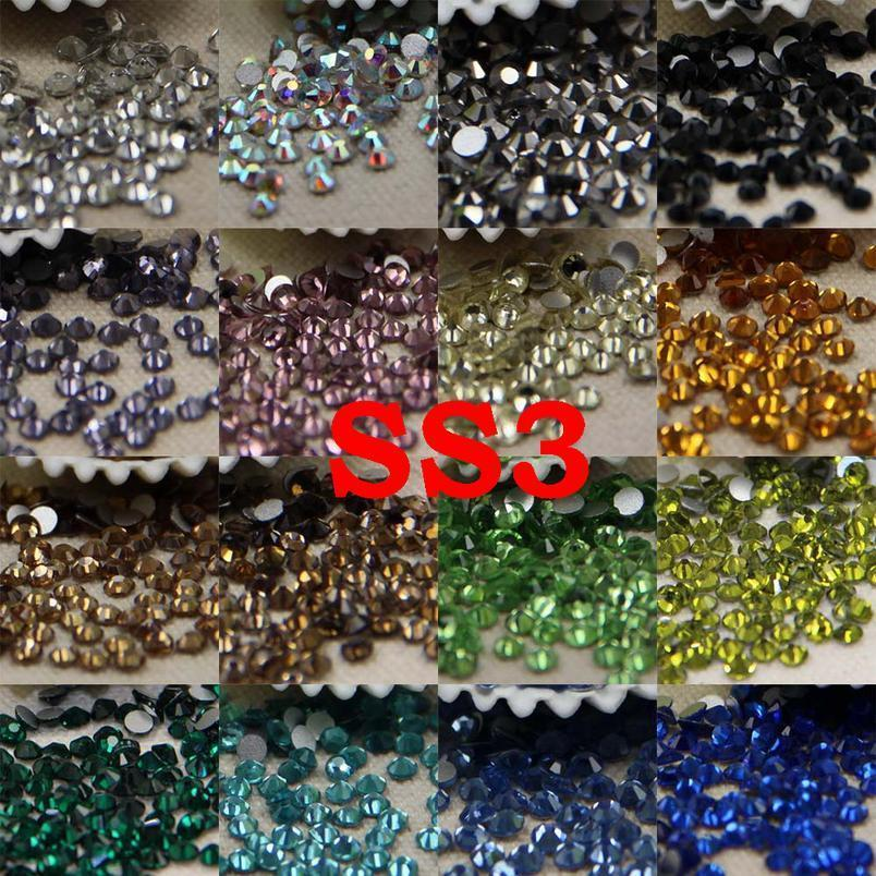 Ss3/1.2mm Strass Nail Art Glass Flatback Nail Rhinestone 3d Non Hotfix Nail Art Decoration Diy Glass jllcGI